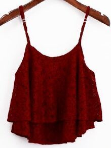 Burgundy Layered Lace Cami Top