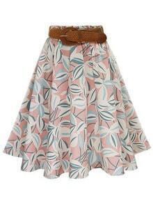 Pink Leaf Print Circle Skirt