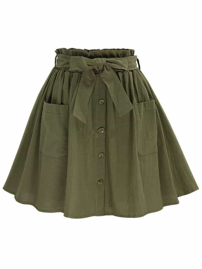 Olive Green Self Tie Button Front Circle Skirtfor Women Romwe