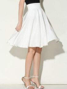 White Wide Waistband Circle Skirt