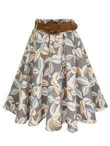 Grey Leaf Print Circle Skirt