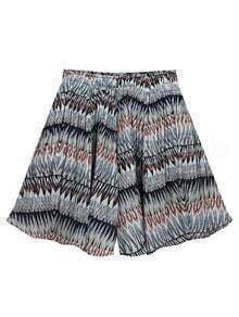 Multicolor Geometric Print Wide Leg Shorts