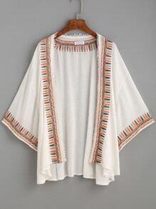 Beige Embroidered Tape Crochet Trim Kimono