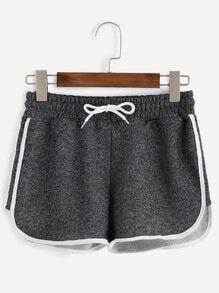 Grey Contrast Trim Drawstring Waist Loose Shorts