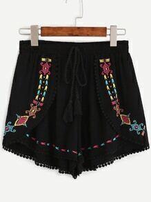 Black Embroidered Drawstring Tassel Waist Shorts