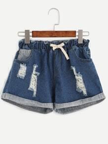 Blue Ripped Drawstring Ruffle Waist Cuffed Denim Shorts