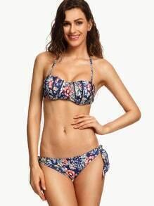 Navy Flower Print Underwire Bustier Bikini Set