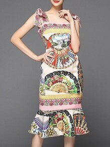 Multicolor Strap Tribal Print Ruffle Dress