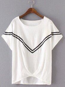 White Stripe Trim High Low Blouse