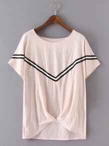 Pink Stripe Trim High Low Blouse
