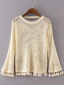 Beige Round Neck Hollow Tassel Sweater