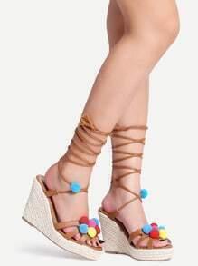 Pom Pom Trimmed Lace-Up Espadrille Sandals - Camel