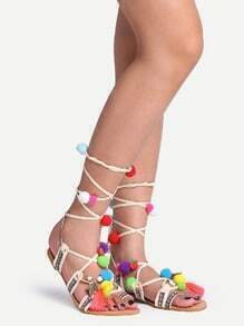 Pom Pom Trimmed Lace-Up Sandals - White
