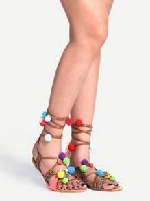 Pom Pom Trimmed Lace-Up Sandals - Camel