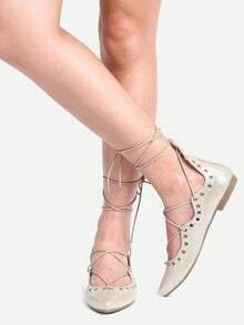Laser-Cut Lace-Up Pointed Toe Flats - Light Gold