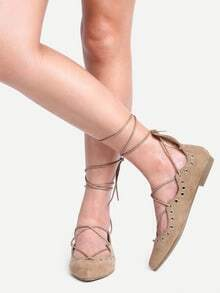 Laser-Cut Lace-Up Pointed Toe Flats - Brown