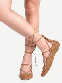 Laser-Cut Lace-Up Pointed Toe Flats - Camel