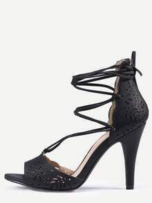 Laser-Cut Lace-Up Peep Toe D'orsay Sandals - Black