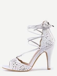 Laser-Cut Lace-Up Peep Toe D'orsay Sandals - White
