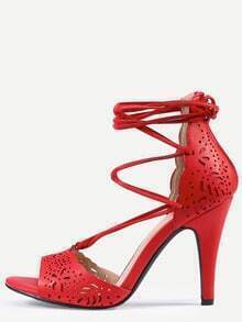 Laser-Cut Lace-Up Peep Toe D'orsay Sandals - Red