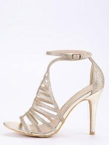 Gold Glitter Caged Ankle Strap Sandals