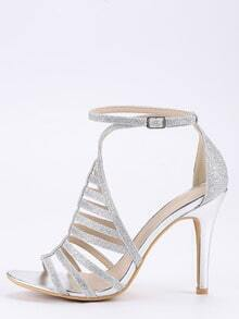 Silver Glitter Caged Ankle Strap Sandals