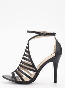 Black Glitter Caged Ankle Strap Sandals