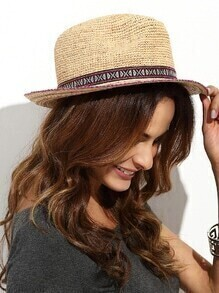 Khaki Vacation Embroidered Ribbon Wide Brimmed Straw Hat