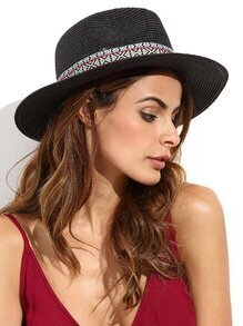 Black Vacation Embroidered Ribbon Wide Brimmed Straw Hat