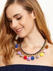 Multicolor Pom Pom Chain Necklace
