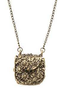 Carved Metal Bag Pendants Necklace