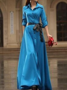 Blue Button Front Maxi Shirt Dress With Contrast Tie