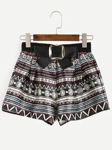 Multicolor Tribal Print Bow Embellished Shorts
