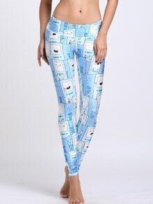 Blue Cartoon Print Sports Leggings