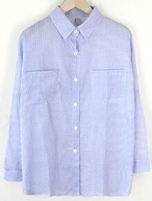 Blue Vertical Striped Blouse With Pockets