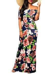 Off the Shoulder Flower Print Beach Dress
