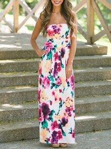 Multicolor Floral Print Tube Dress