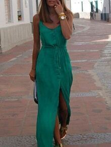 Green Drawstring Waist Shirt Dress