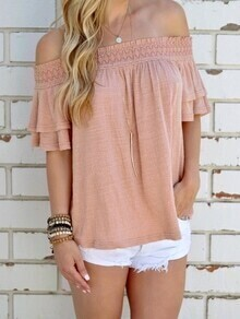 Pink Off The Shoulder Ruffle Cut Out Top