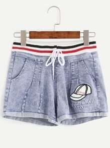 Blue Drawstring Embroidered Cuffed Shorts