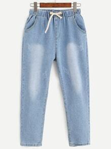 Blue Drawstring Bleach Wash Jeans
