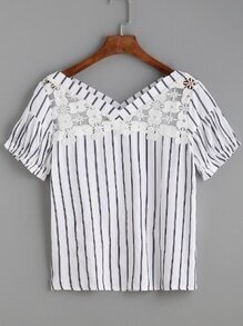 White Vertical Striped Flower Lace Insert Top
