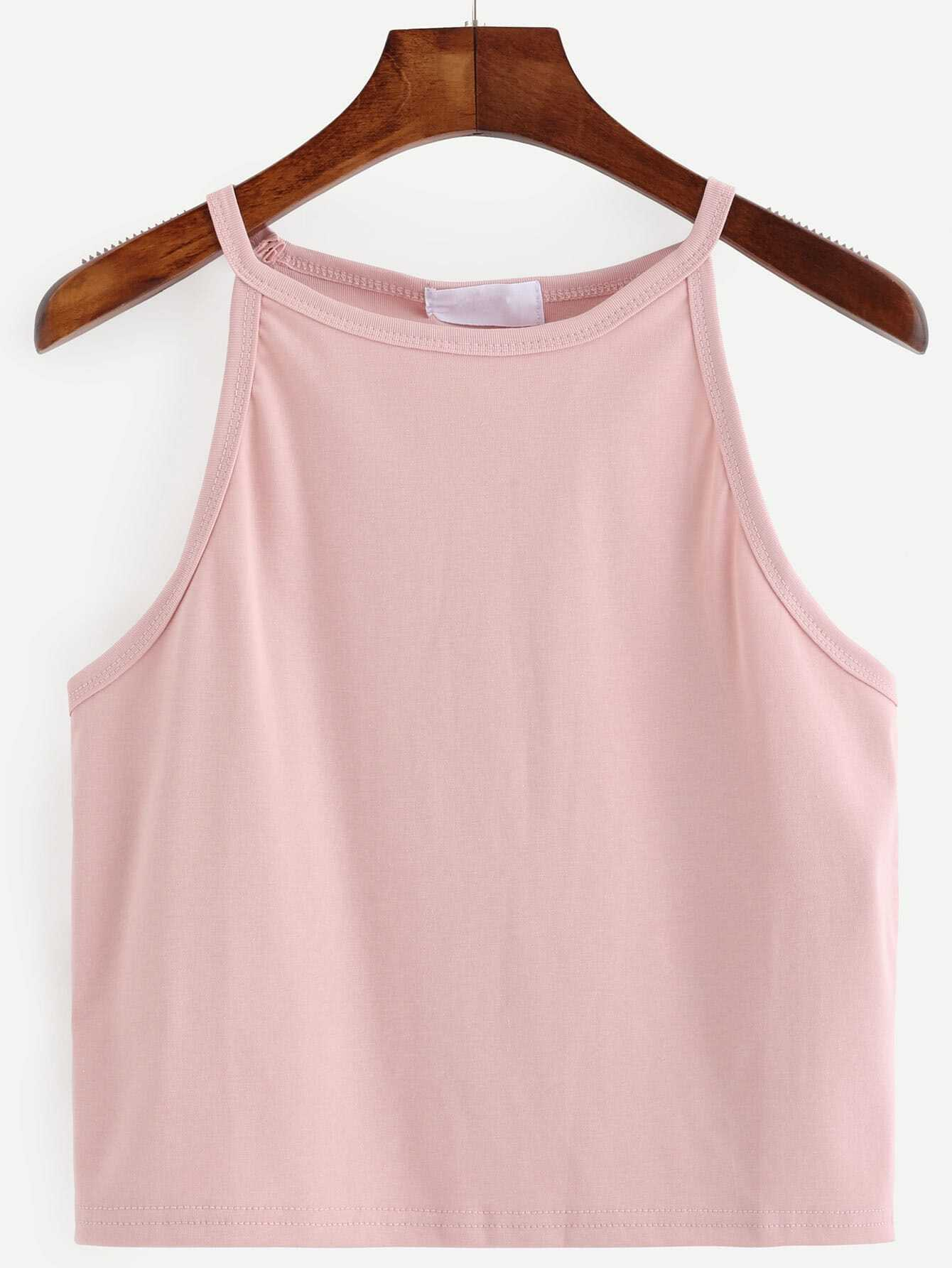 Top Bretelle Couleur Unie Rose French Romwe