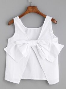 White Bow Embellished Open Back Tank Top