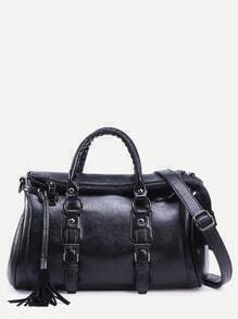 Black Tassel Trim Buckle Strap Detail Duffle Bag
