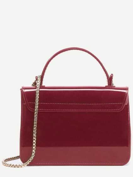 Red Pushlock Closure Plastic Handbag With Chain