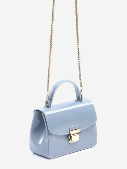 Baby Blue Pushlock Closure Plastic Handbag With Chain