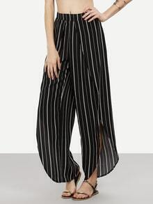 Black and White Striped Split Pants