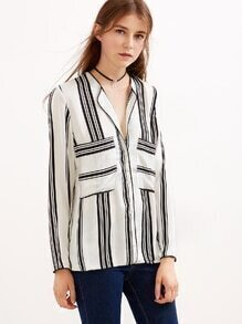 Black And White Stripe Button Blouse