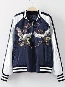 Navy Crew Neck Crane Embroidery Jacket
